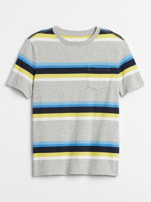 Erkek Çocuk Gri Çizgili Kısa Kollu T-Shirt