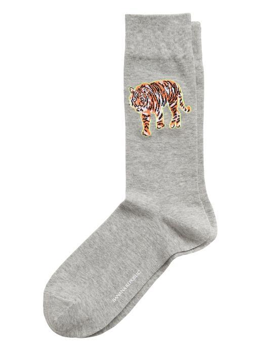 Erkek Gri Kaplan İşlemeli Çorap