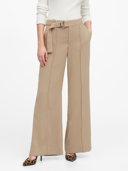 Kadın Bej High-Rise Wide-Leg Utility Pantolon