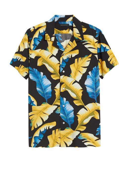 Erkek Siyah Desenli Slim Soft Gömlek