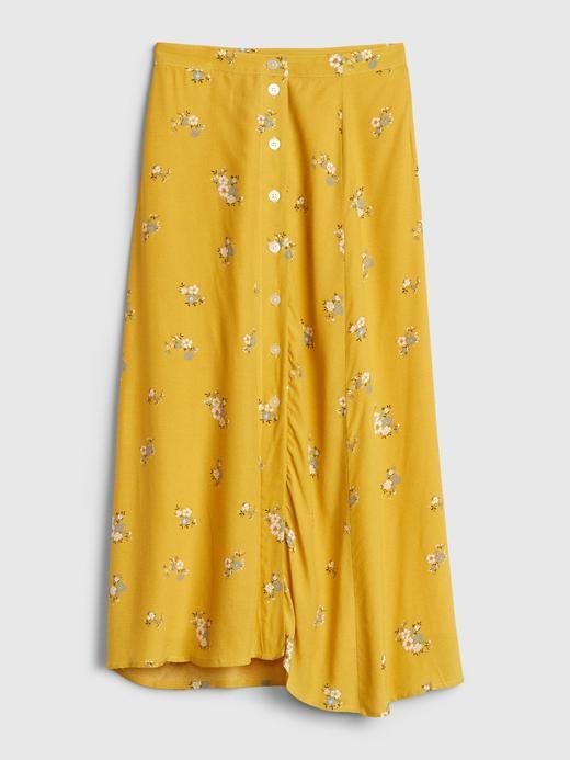 Kadın Sarı Çiçek Desenli Midi Etek