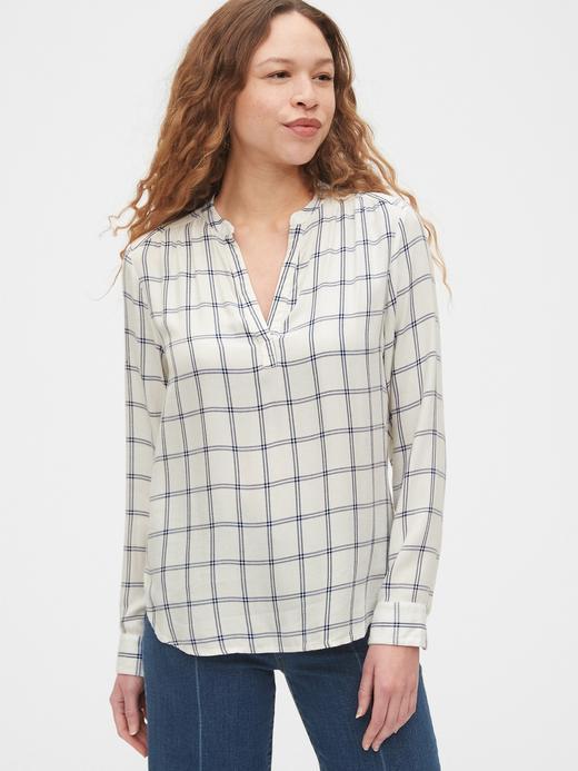 Kadın Bej Desenli Popover Bluz
