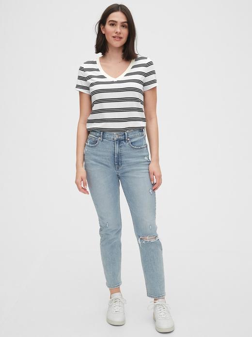 Kadın Siyah Vintage Çizgili T-Shirt