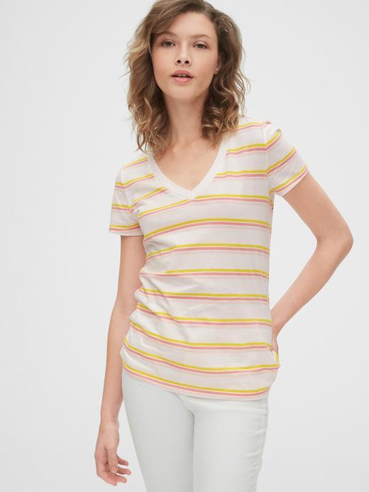 Kadın Sarı Vintage Çizgili T-Shirt