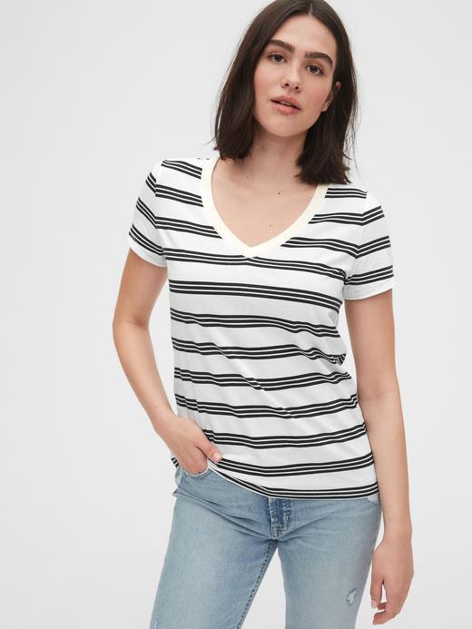 Kadın Beyaz Vintage Çizgili T-Shirt
