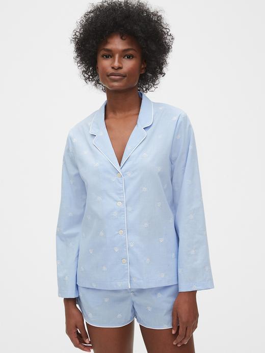 Kadın Mavi Poplin Pijama Üstü