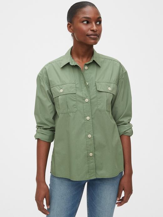 Kadın Yeşil Uzun Kollu Gömlek