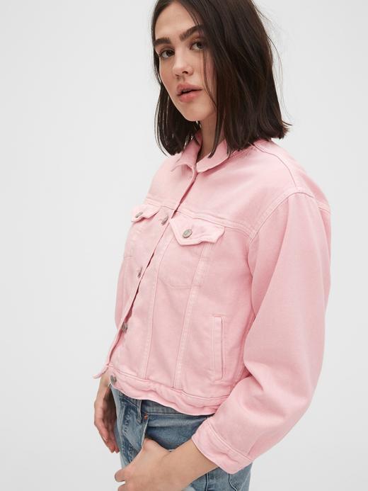 Kadın Pembe Crop Icon Denim Ceket