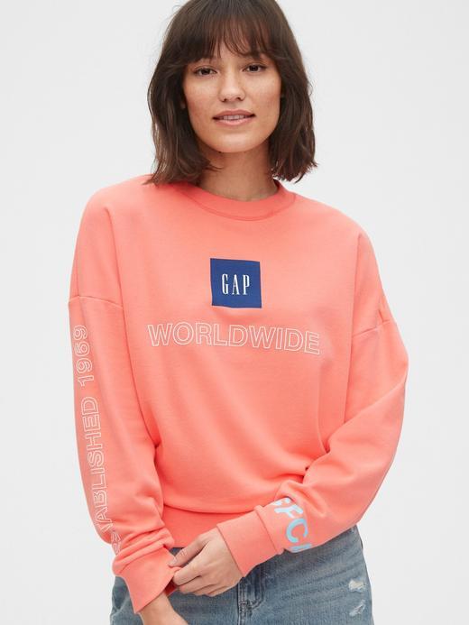 Kadın Turuncu Grafik Düz Yakalı Sweatshirt