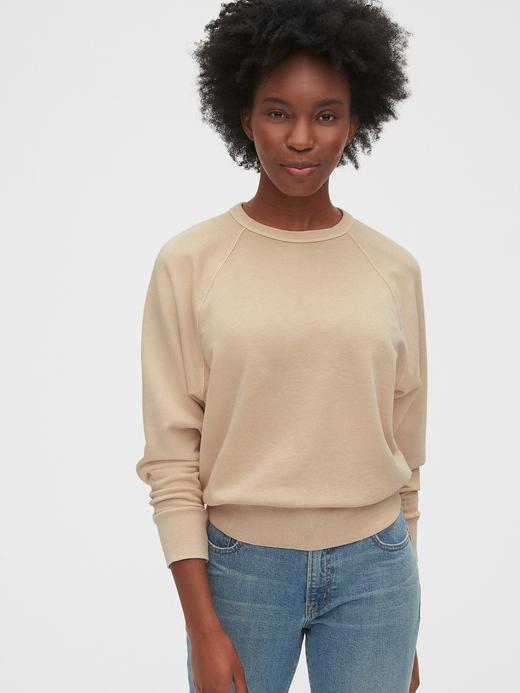 Kadın Bej Düz Yakalı Sweatshirt