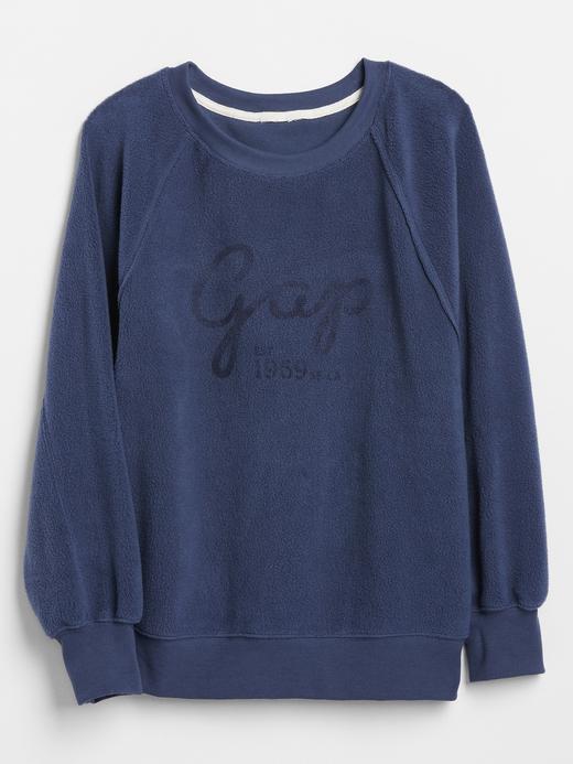 Kadın Mavi Gap Logo Düz Yakalı Polar Sweatshirt