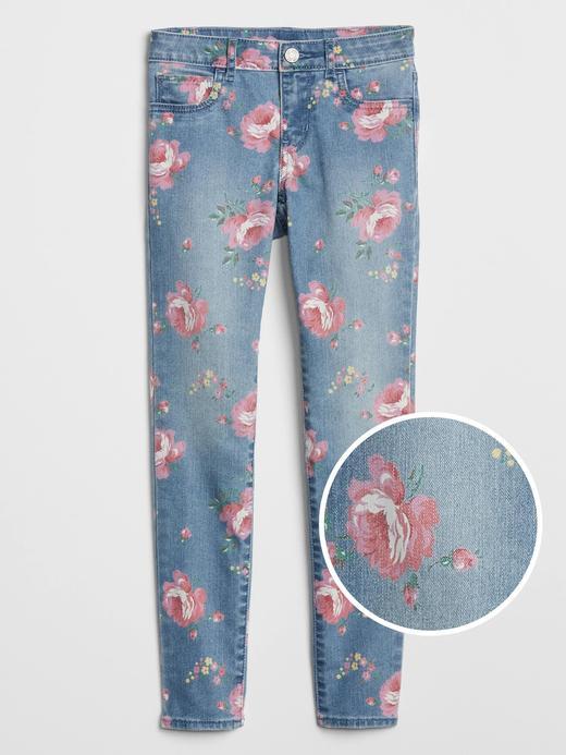 Kız Çocuk Mavi Çiçek Desenli Jegging Pantolon