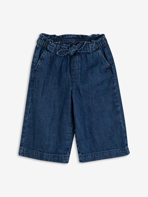 Kız Bebek Lacivert Wide-Leg Crop Jean Pantolon