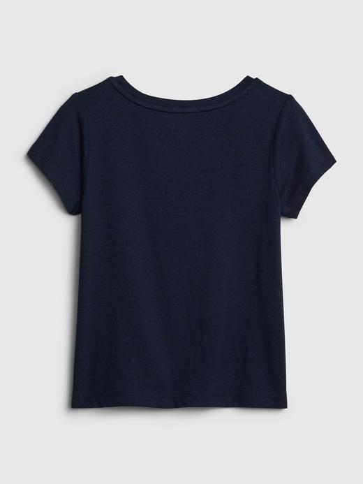Kız Bebek Gri Gap Logo Kısa Kollu T-Shirt