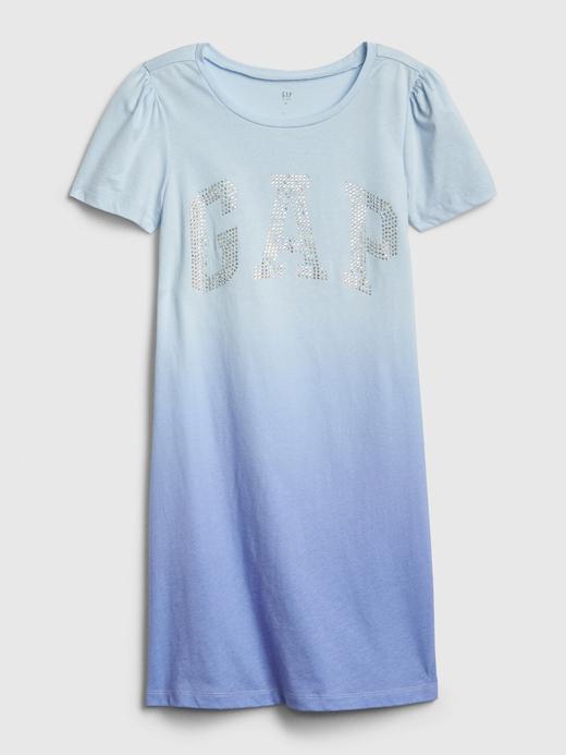 Kız Çocuk Mavi Gap Logo T-Shirt Elbise