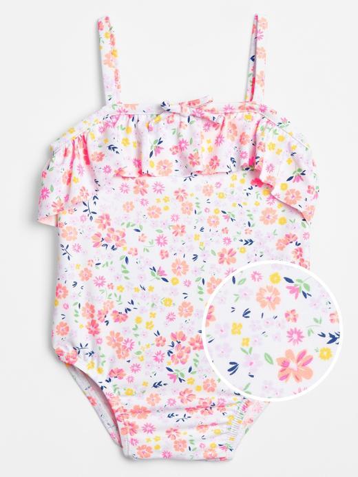 Kız Bebek Beyaz Çiçek Desenli Mayo