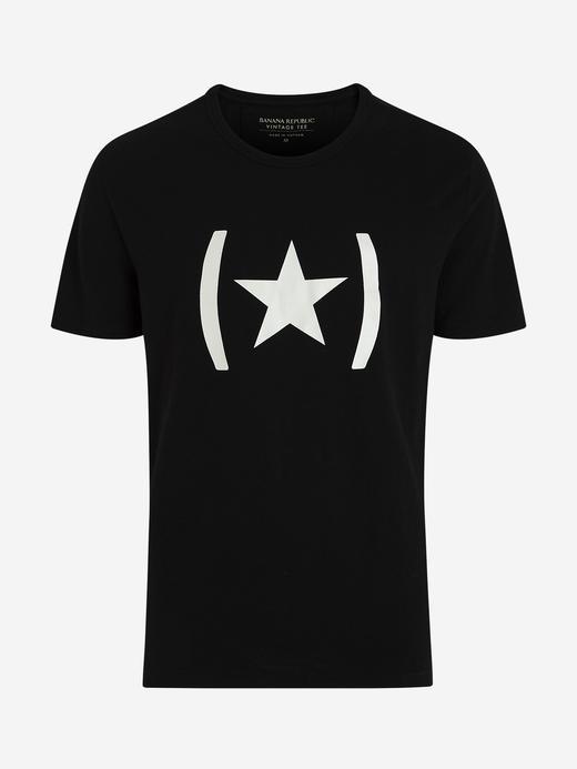 Erkek Siyah Grafik Kısa Kollu T-Shirt