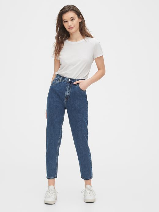 Kadın Mavi High Rise Mom Jean Pantolon