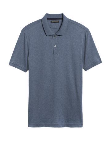 Erkek Mavi Luxe Touch Polo Yaka T-Shirt
