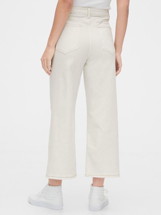 Kadın Beyaz High Rise Wide-Leg Crop Jean Pantolon
