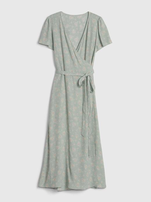 Kadın Yeşil Desenli Anvelop Midi Elbise
