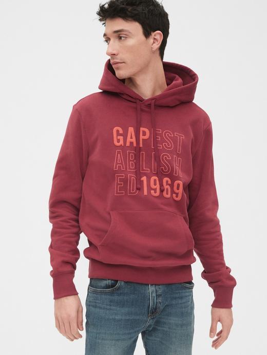 Erkek Kırmızı Grafik Pullover Kapüşonlu Sweatshirt