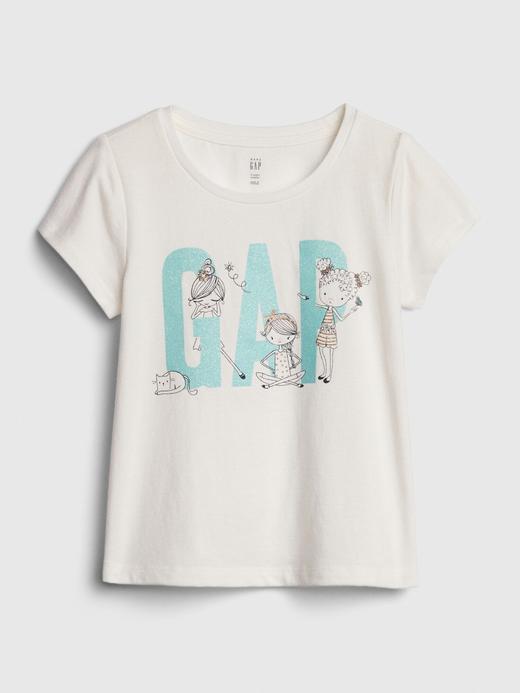 Kız Bebek Beyaz Gap Logo Kısa Kollu T-Shirt