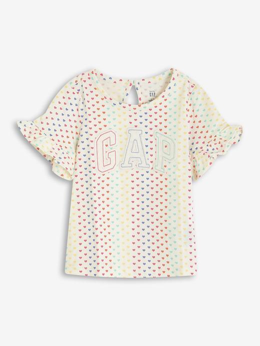 Kız Bebek Bej Gap Logo Kısa Kollu T-Shirt