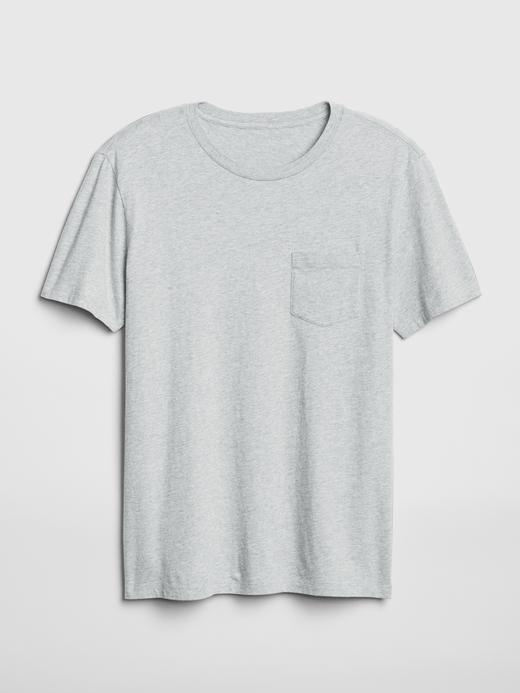 Erkek Gri Kısa Kollu Cepli T-Shirt