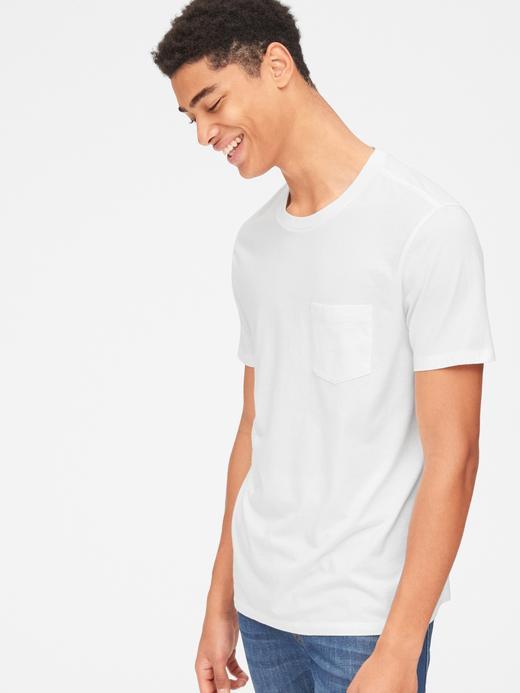 Erkek Beyaz Kısa Kollu Cepli T-Shirt