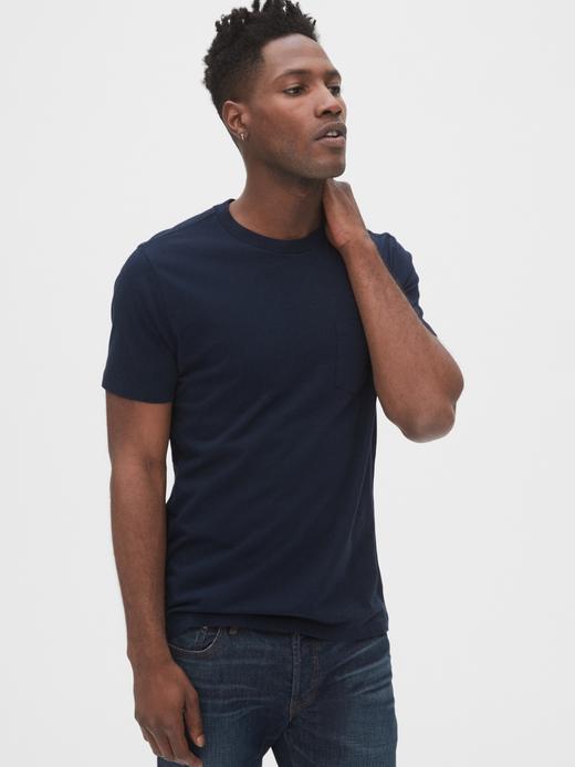 Erkek Lacivert Kısa Kollu Cepli T-Shirt
