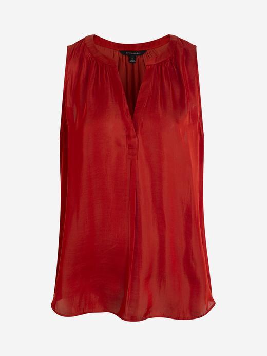 Kadın Kırmızı Saten Bluz