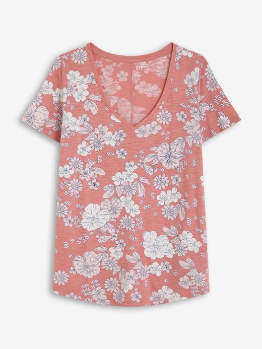 Kadın Pembe Desenli V Yaka T-Shirt