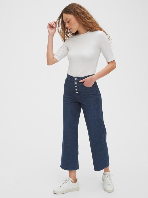 Kadın Lacivert High Rise Wide-Leg Crop Jean Pantolon
