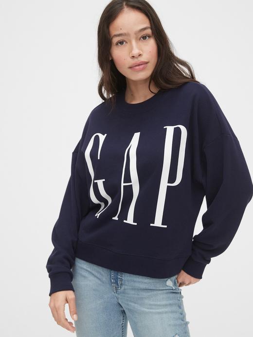 Kadın Lacivert Gap Logo Düz Yakalı Sweatshirt