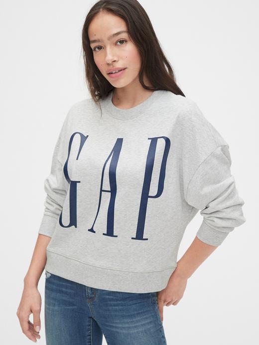 Kadın Gri Gap Logo Düz Yakalı Sweatshirt