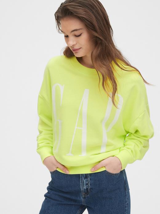 Kadın Sarı Gap Logo Düz Yakalı Sweatshirt