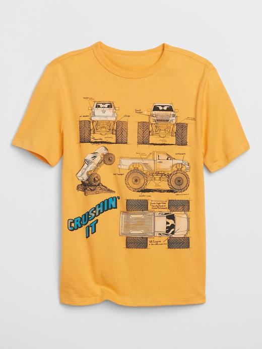 Erkek Çocuk Sarı Grafik Kısa Kollu T-Shirt