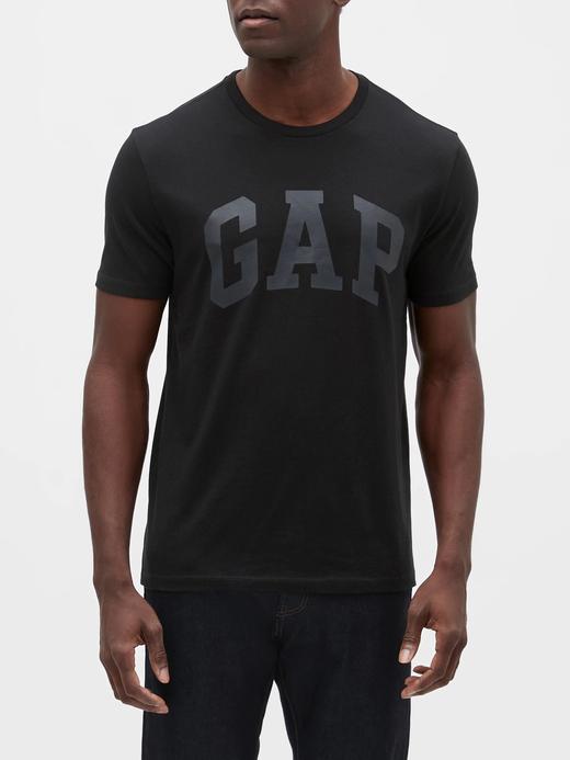 Erkek Siyah Gap Logo Kısa Kollu T-Shirt