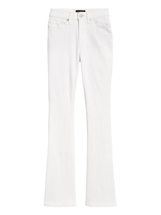 Kadın Beyaz High-Rise Flare Jean Pantolon