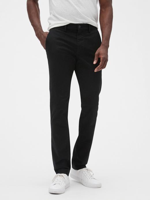 Erkek Siyah GapFlex Skinny Fit Khaki Pantolon