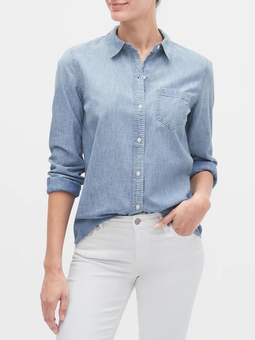 Kadın Mavi Şambre Uzun Kollu Gömlek