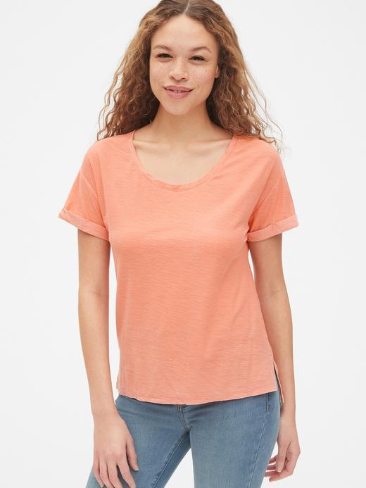Kadın turuncu Yumuşak Dokulu Sıfır Yaka T-Shirt