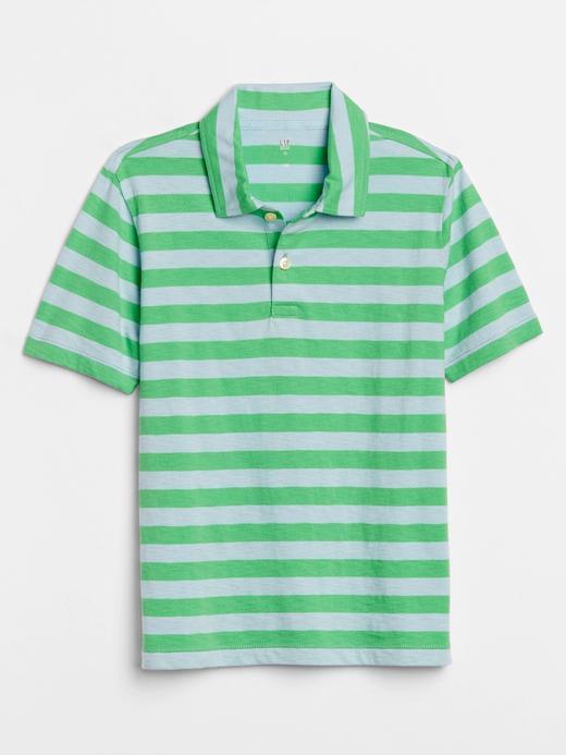 Erkek Çocuk Yeşil Çizgili Polo Yaka T-Shirt