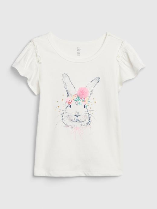 Kız Bebek Beyaz Tavşan Baskılı T-Shirt