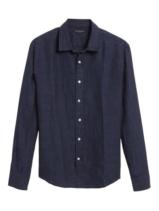 Erkek Mavi Untucked Slim-Fit Keten Gömlek
