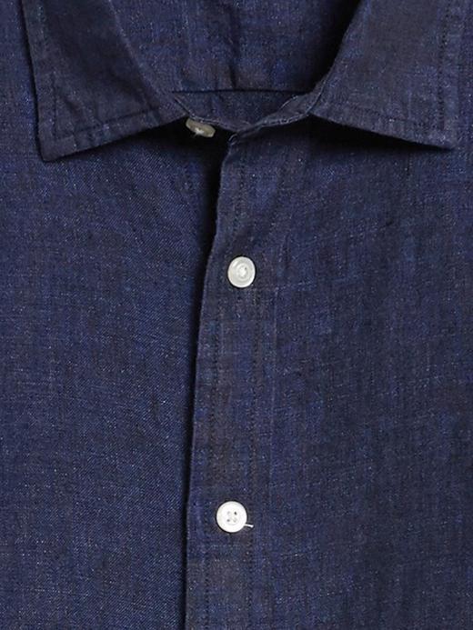 Erkek Mavi Untucked Standard-Fit Keten Gömlek