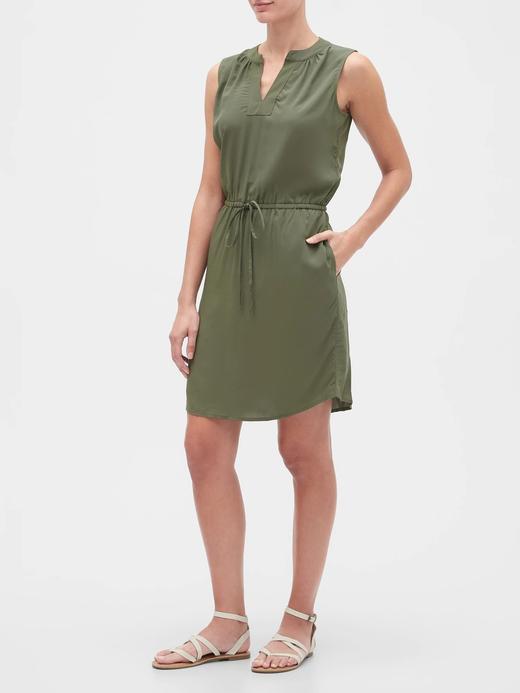 Kadın Yeşil Beli Bağlamalı Elbise