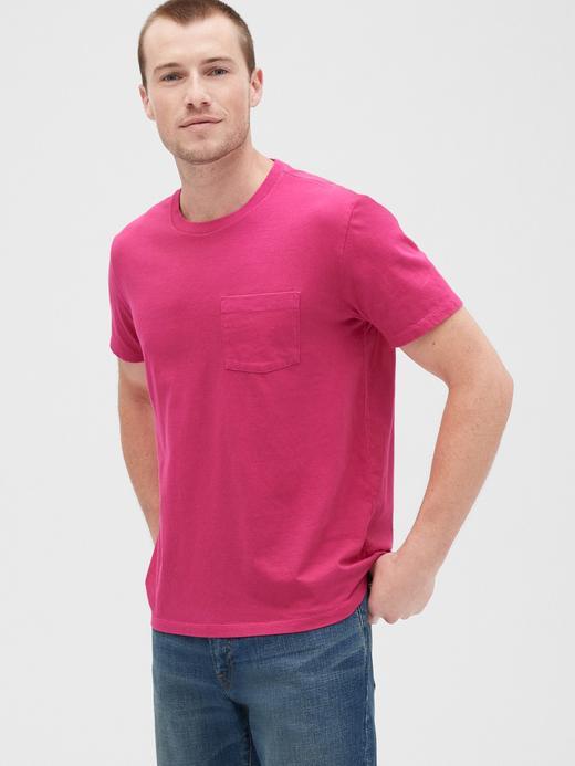 Erkek fuşya Vintage Cepli T-Shirt