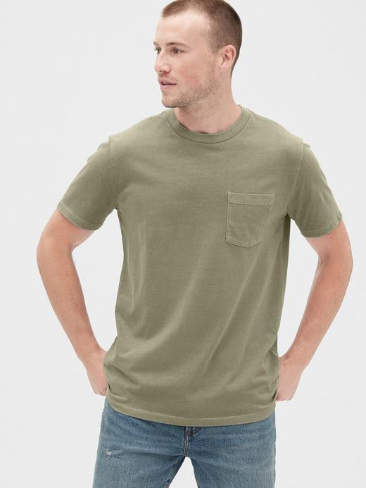 Erkek Yeşil Vintage Cepli T-Shirt